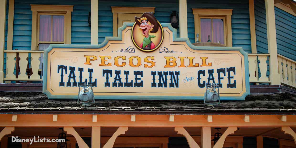 Pecos Bill Cafe Disney World Menu
