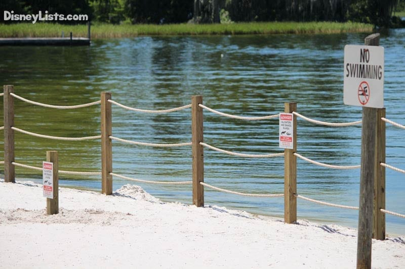 Fort Wilderness Beach Area with Roped Fence and Warning Signs