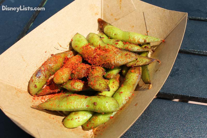 Grilled Spicy Edamame tossed with Sesame Oil, Soy Sauce and Chili Powder
