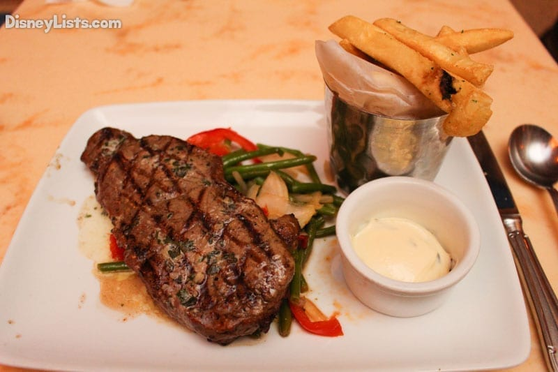 Grilled Strip Steak with Garlic-Herb Butter and Pommes Frites